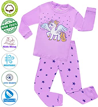 dc9f45704b Girls Pajamas Clothes Sleepwear 100% Cotton PJS for Toddlers Children Kids  Unicorn Style (Purple