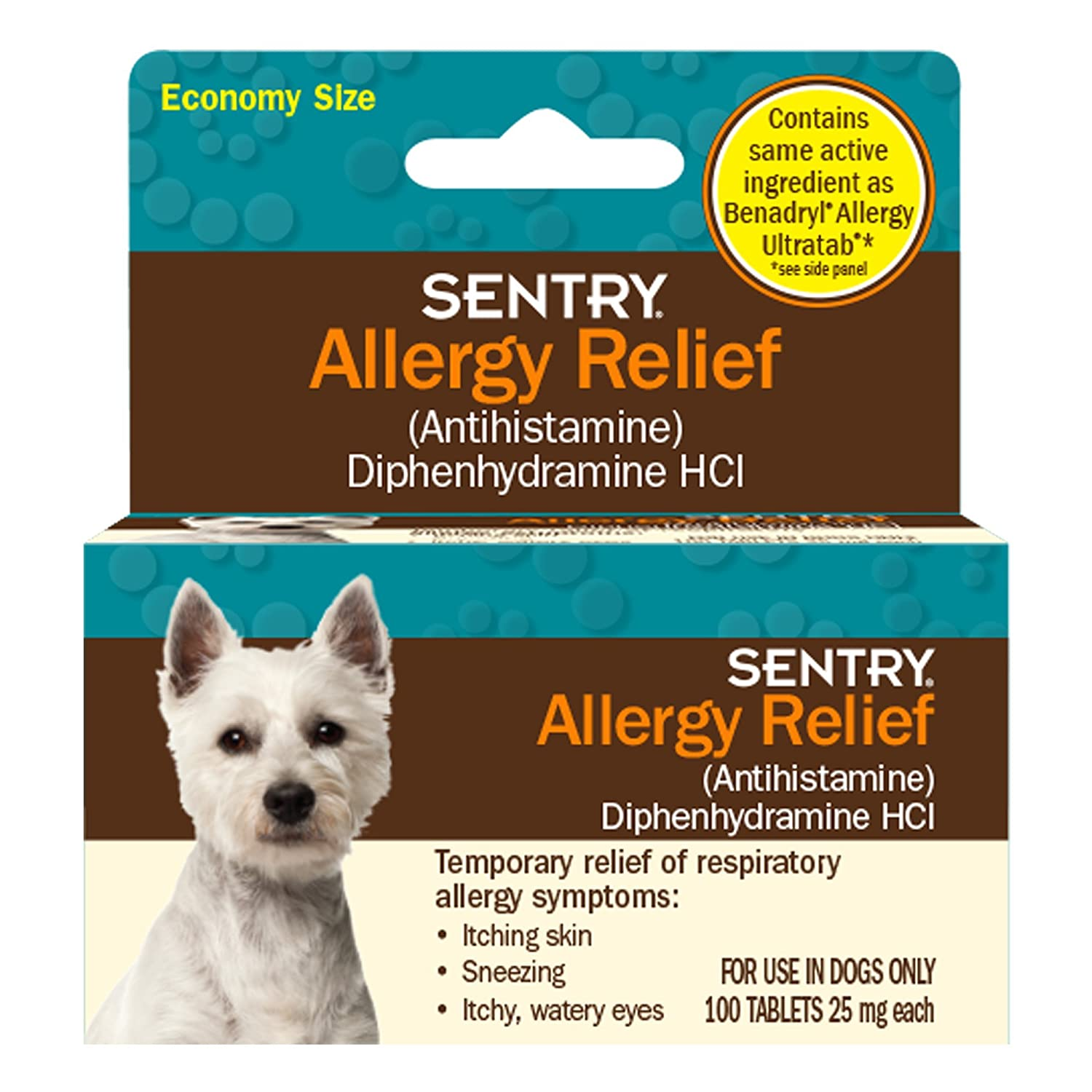 Sentry Allergy Relief For Dogs 100 Tablets 25mg each