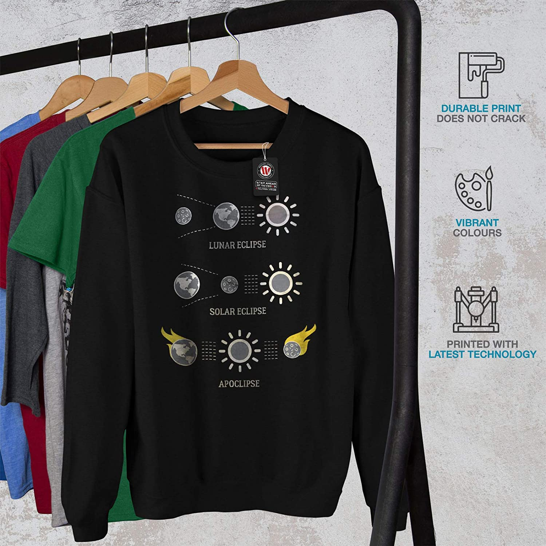 wellcoda Eclipse Astronomy Mens Sweatshirt Solar Funny Casual Jumper