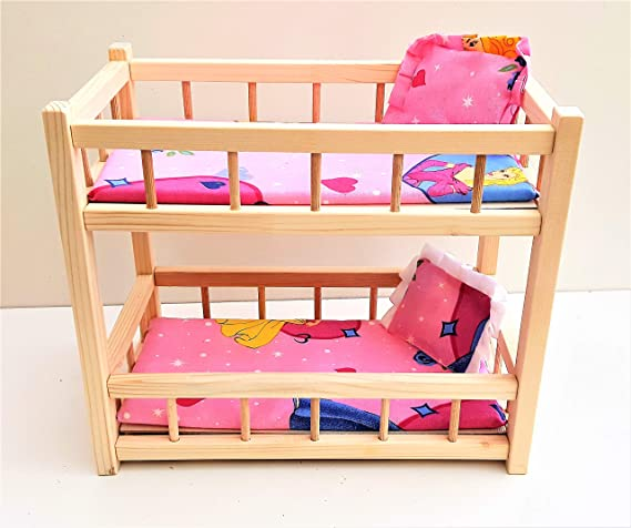 Nattoyz Wooden Toy Bunk Bed For 2 Dolls Fit Dolls Size 14 Long Fit