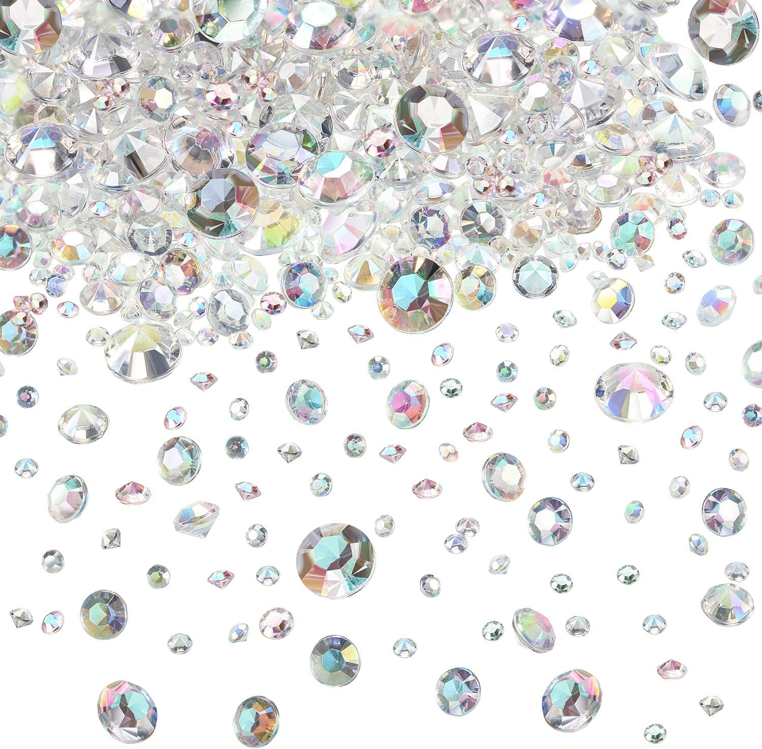 Hicarer 4000 Pieces Table Confetti 3 Sizes Wedding Crystals Acrylic Diamonds Rhinestones Vase Fillers for Birthday Baby Shower Party Tables (Crystal AB)