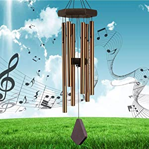 RELIANCER 40'' Memorial Wind Chime Outdoor Large Deep Tone Wind-Chime with 6 Aluminum Tubes Elegant Melodic Sympathy Chimes Windbell Home&Garden Decor Patio Balcony Gift
