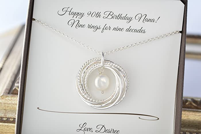 90th Birthday Gift For Mother And Grandmother Necklace 9nd Anniversary Her Pearl