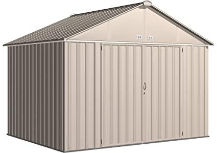 Arrow EZEE Shed Extra High Gable Steel Storage Shed, Cream, 10 X 8 Ft