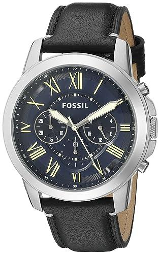 Fósil de hombre fs5089 subvención Cronógrafo correa de piel, color negro: Fossil: Amazon.es: Relojes
