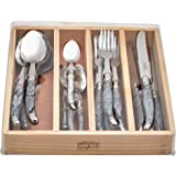 Chateau Laguiole 24-Piece Cutlery Set 430 Grade Stainless Steel Wooden Gift Box - Marble White Finish