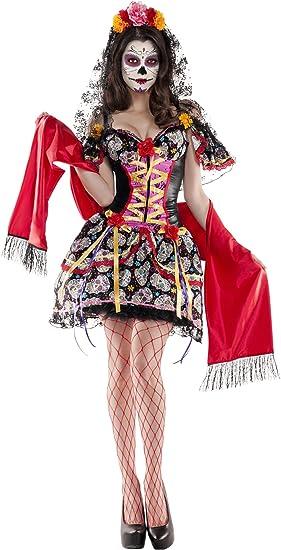 """Disfraz Teen /""""día de los muertos/"""" negro-rojo Halloween México"""