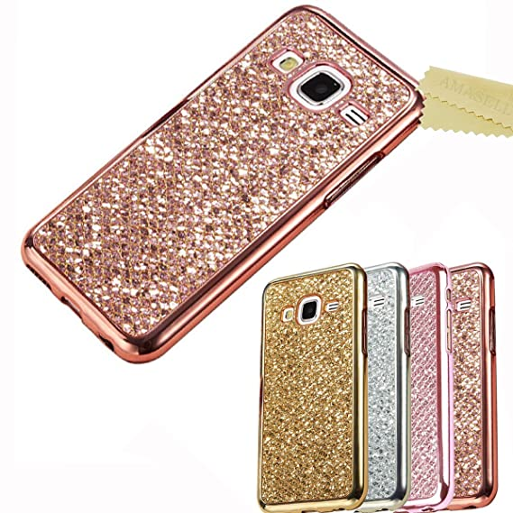 separation shoes 4f71c f16e8 Silicon Rubber Case Cover for Samsung Galaxy Grand Prime, AMASELL Ultra  Silm Electroplating TPU Bumper Frame and Glitter Bling Soft Protective  Silicon ...