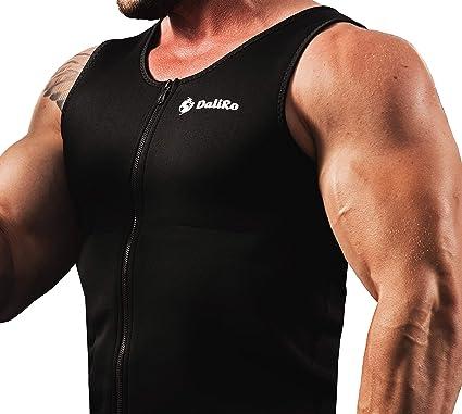 7a1d93b393 DaliRo Men Sauna Vest Workout Neoprene Tank Top Waist Trainer Slimming  Zipper Shaper (S)
