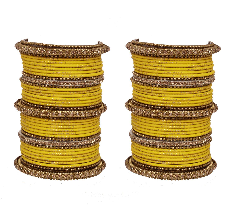 Traditional Indian Bollywood Yellow bangle set pair women wedding wear Matching costume jewellery (2.6)