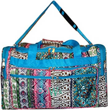 22 inch Fashion Multi Pocket Gym Dance Cheer Travel Carry On Duffle Bag with Bottle Holder Blank - Aqua Chevron