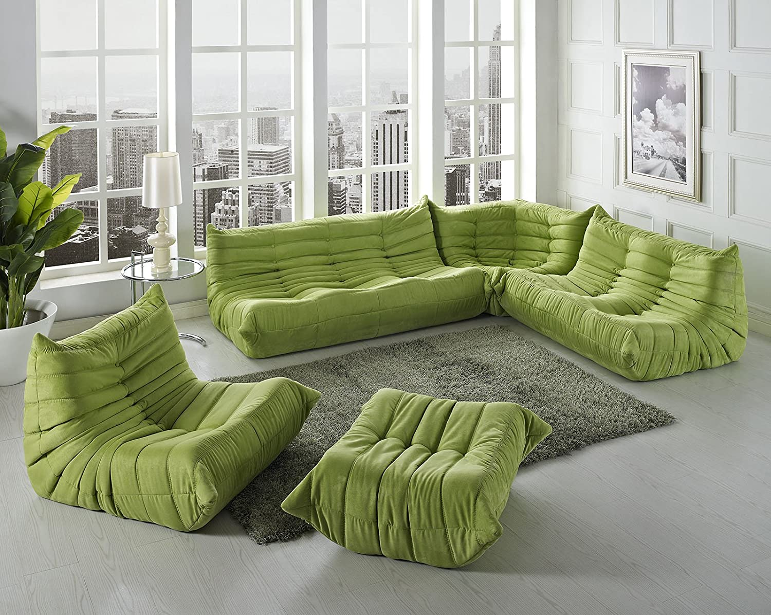 sectional with set decor sofa sofas contemporary armchair green fabric