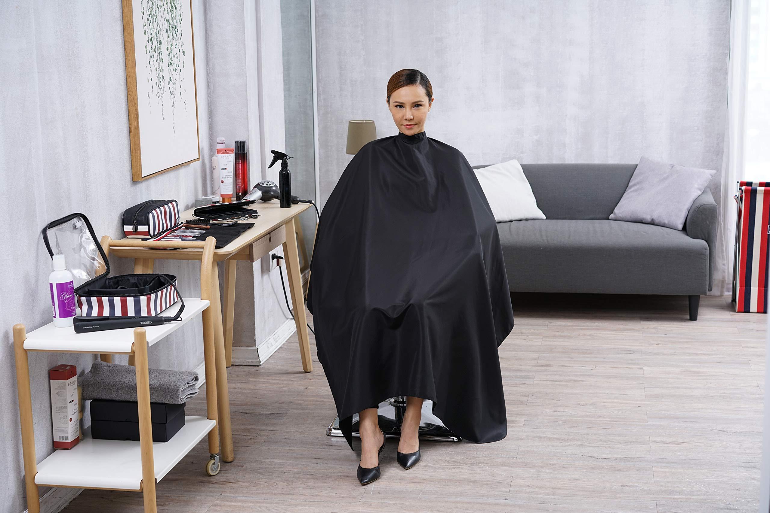 SMARTHAIR Professional Salon Cape Polyester Haircut Apron Hair Cut Cape,54''x62'',Black,C007001E-L by SMARTHAIR (Image #6)
