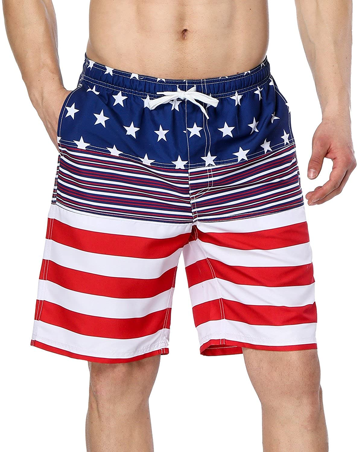 a59045ec4d Lightweighted and quick dry board shorts with us flag features. Two inseam  pockets on sides using breathable fabric. Elastic waistband and drawstring  ...