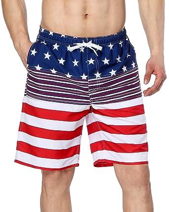 371162e0b7 Sociala Mens American Flag Swim Trunk Quick Dry Boardshorts with Pockets  Size 30