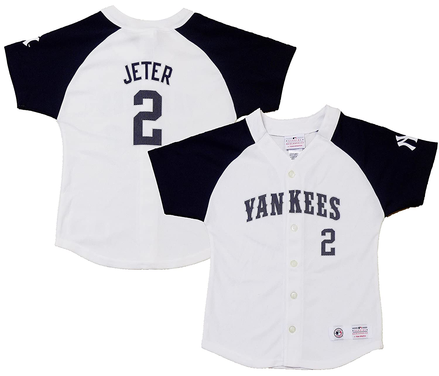 online store 1d329 9f878 Derek Jeter New York Yankees #2 Navy Blue Girls Youth Player ...