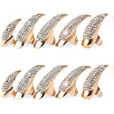 Danibos Punk Style Crystal Rhinestone Paved Paw Bend Fingertip Finger Claw Ring Set Fake False Nails Set (Golden,10PCS)