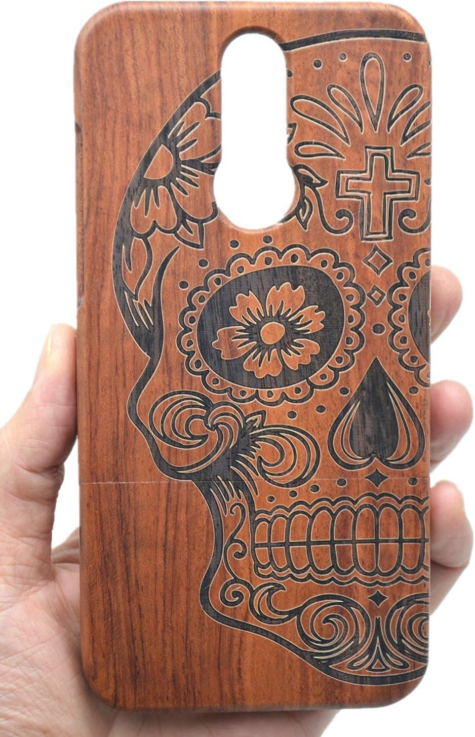 Madera Carcasa Case Cover Flores del mandala del palo de rosa RoseFlower Huawei P10 Lite Funda de Madera Natural Hecha a mano de Bamb/ú