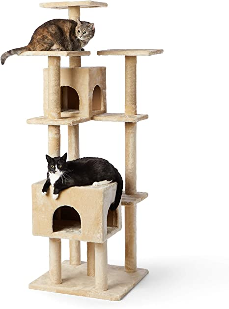 Amazon Com Amazon Basics Large Cat Condo Tree Tower With Dual Caves And Scratching Post 25 X 29 X 70 Inches Beige Pet Supplies