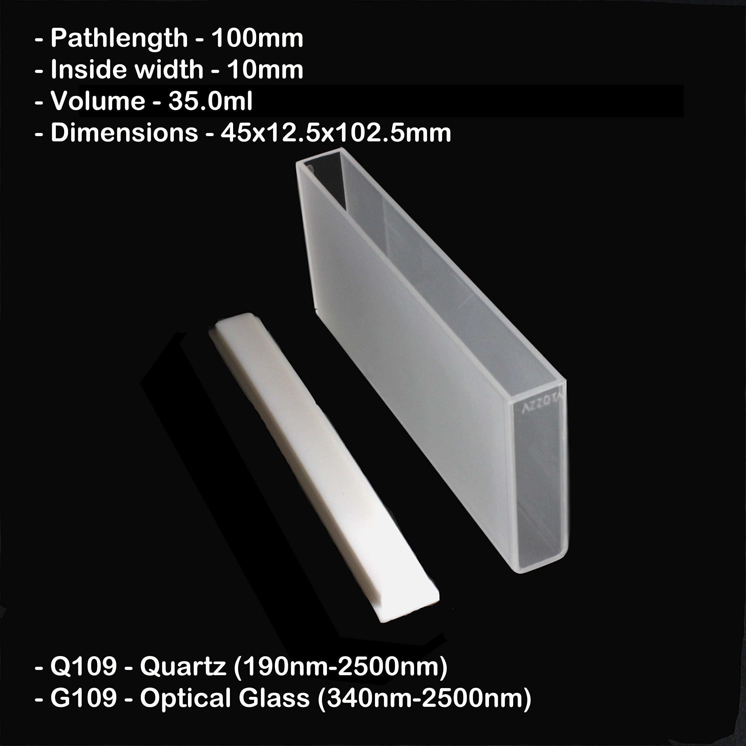 100mm Pathlength Optical Glass Cuvettes - 35ml