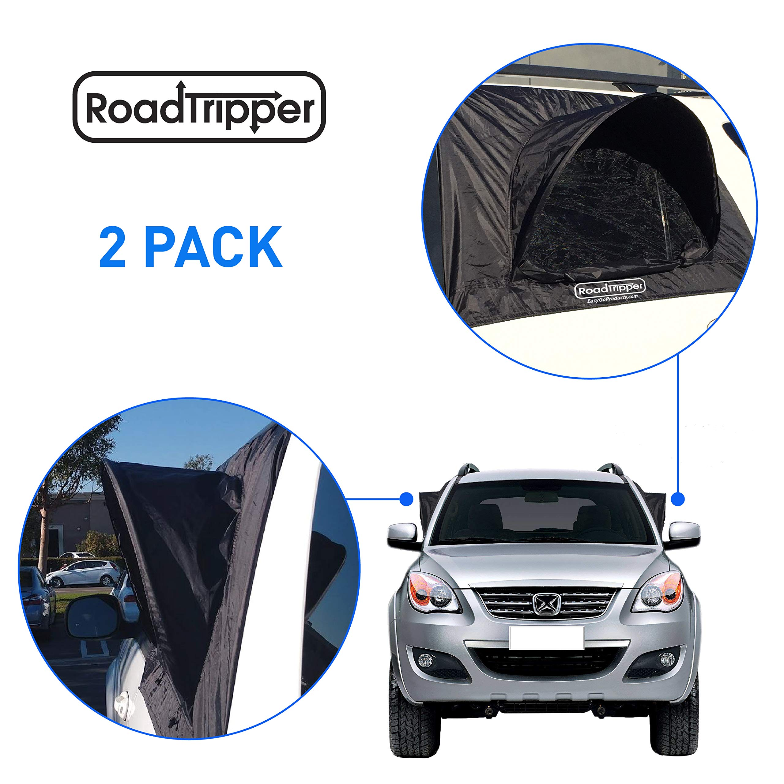 EasyGoProducts EGP-Auto-003-D RoadTripper -SUV Tent - Works as Vent, Bug Guard and Sun Screen Canopy-Car Camping Accessory (2 Packs) by EasyGoProducts