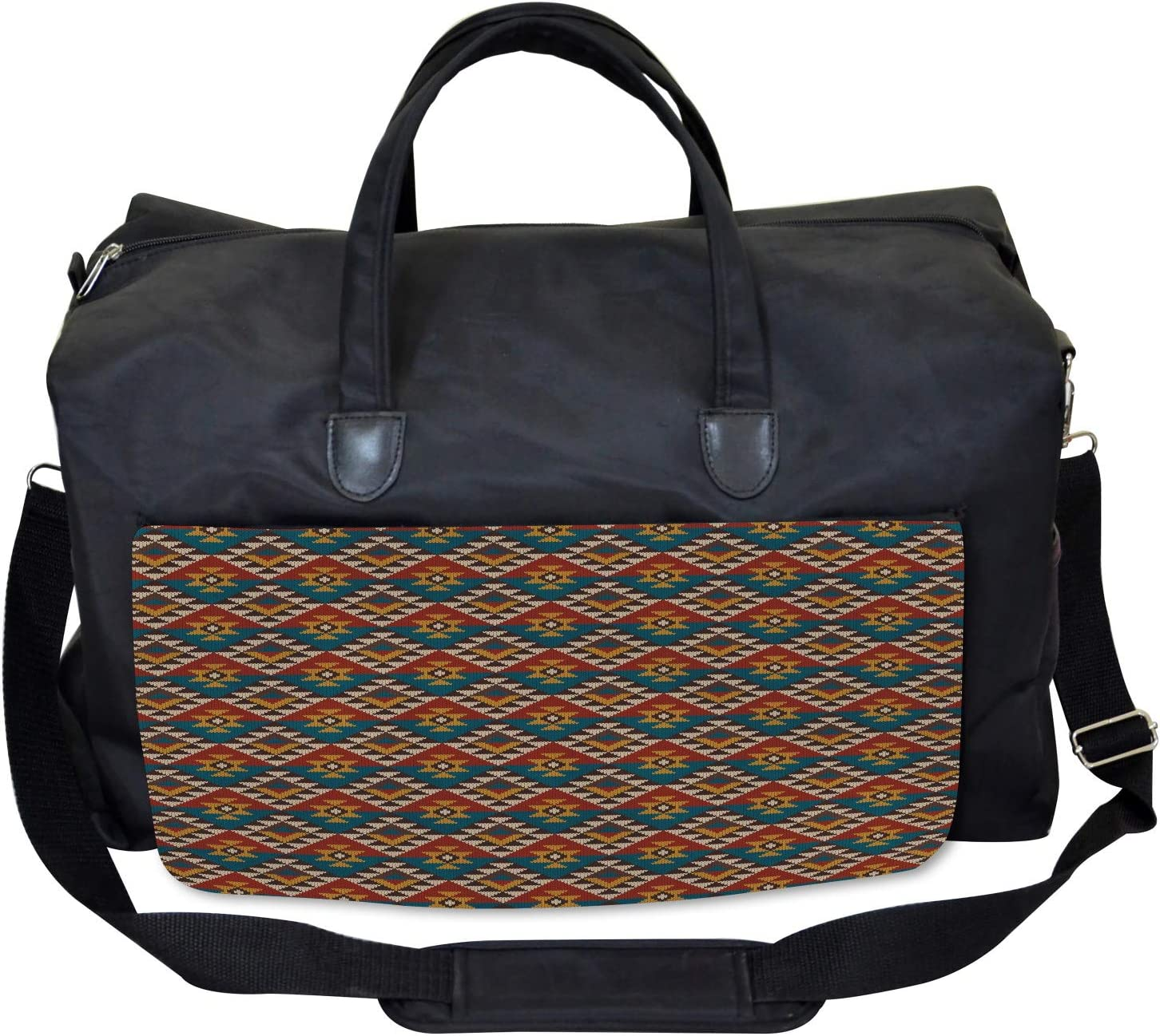 Large Weekender Carry-on Ethnic Art Design Ambesonne Geometric Gym Bag