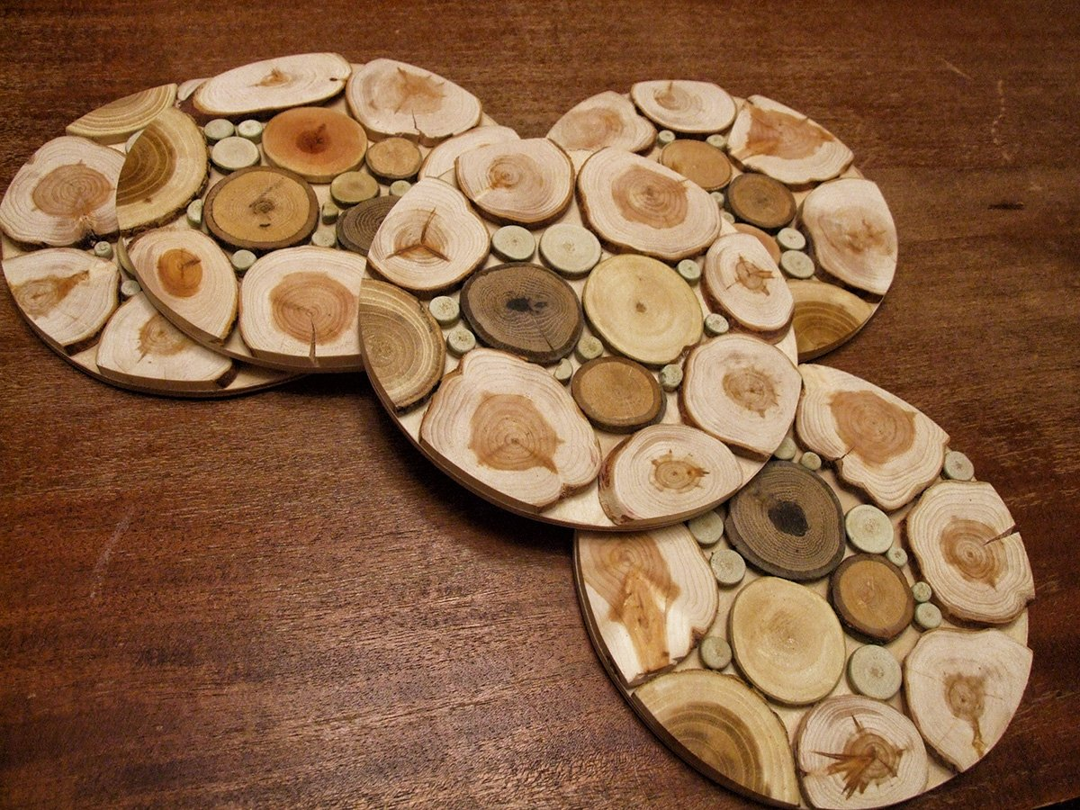 Handmade Wooden Trivet for Hot Dishes - 7.5 Inch. - Big Coaster - 6 Sorts of Wood - Natural Smell - Unique Art Decor in the Kitchen - Made by SPL Woodcraft Ukraine by SPL woodcraft (Image #4)