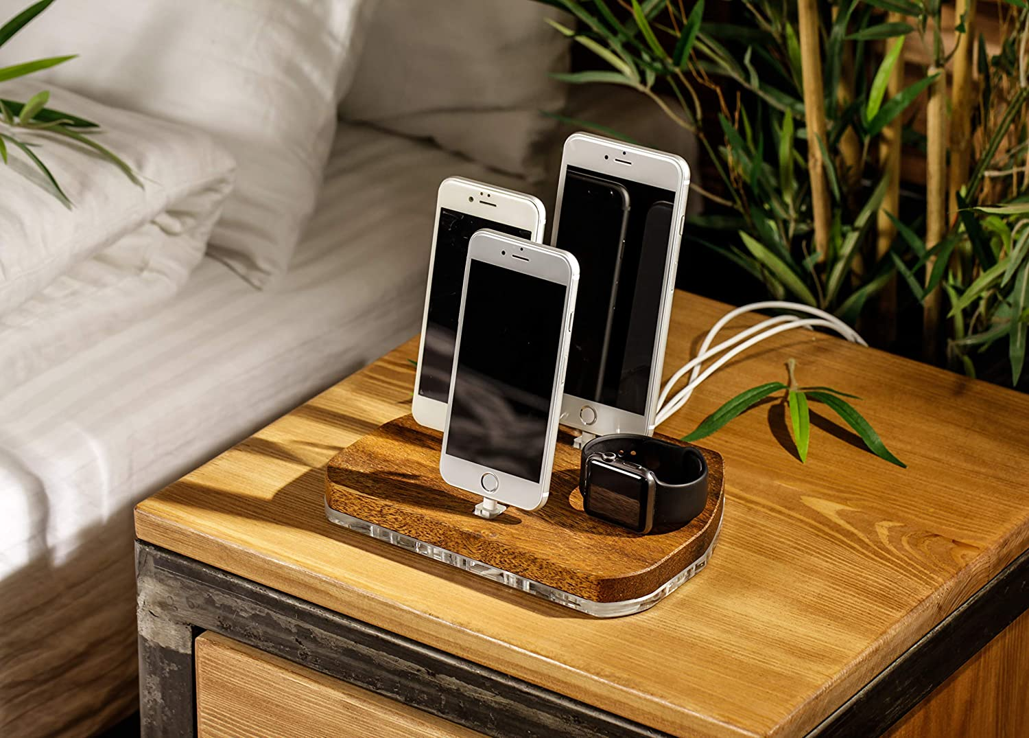 Phone,Tablet Organizer,Merbau Docking Station,Watch Charging Stand,Holder, Compatible with iPhone XR/Xs/X/8/7/6/5, Apple Watch Series 1/2/3/4/5 iPad Mini/Air/Pro Airpods Pre-Installed USB Cables