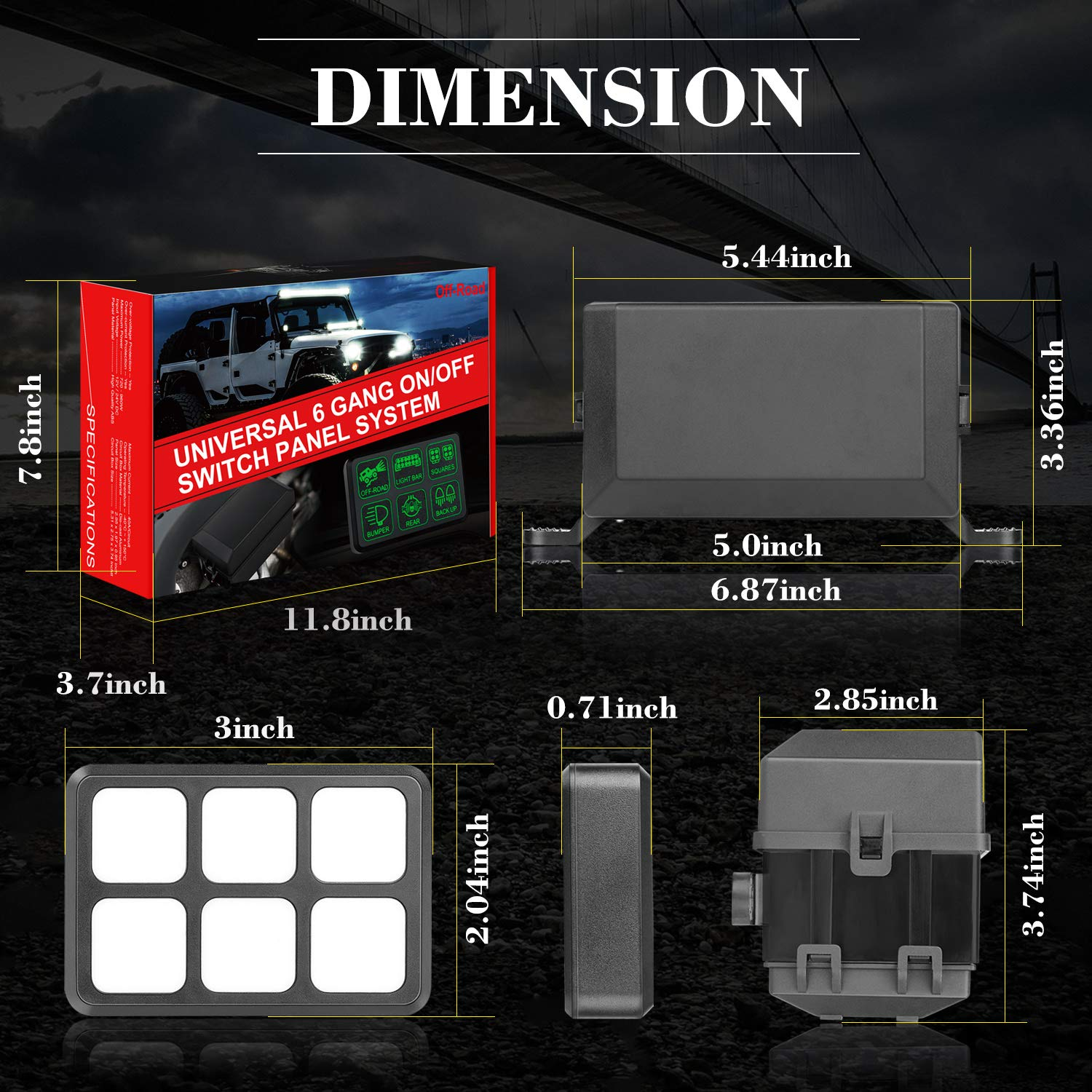AKD Part 6 Gang Switch Panel Circuit Control Box Universal Electronic Relay System Wiring Harness On//Off Button for Jeep SUV ATV UTV Truck Marine