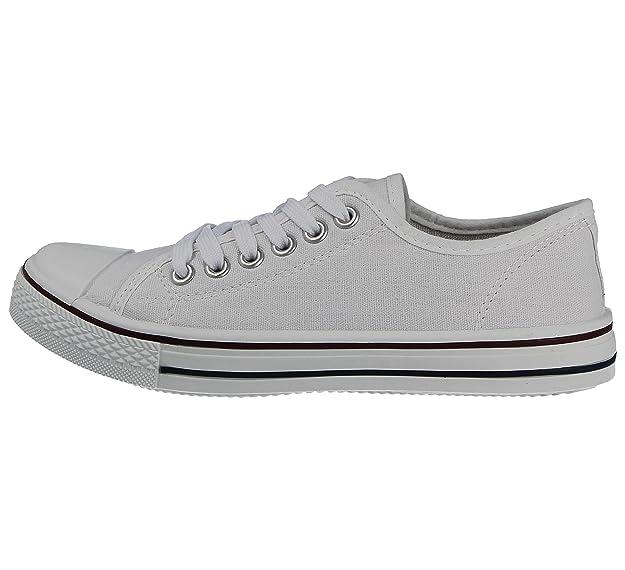 Damen-Sneaker aus Canvas Baltimore/Academy, mit Zehenkappe und Schnürung, Größe 42-48, Blau - Hi Top Navy - Größe: 35.5 Foster Shoes