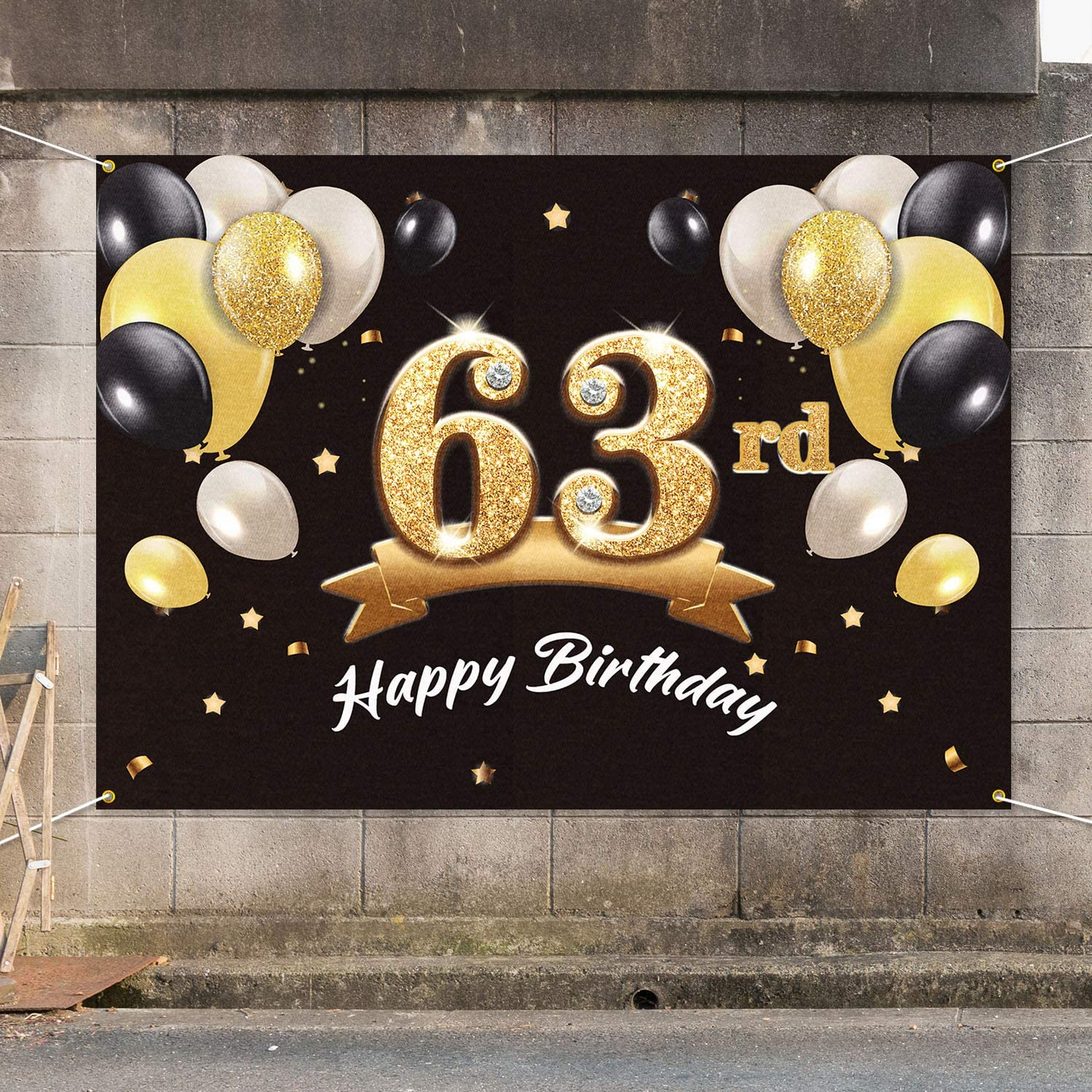 63 Birthday Party Decorations Supplies for Men PAKBOOM Happy 63rd Birthday Banner Backdrop Black Gold 4 x 6ft
