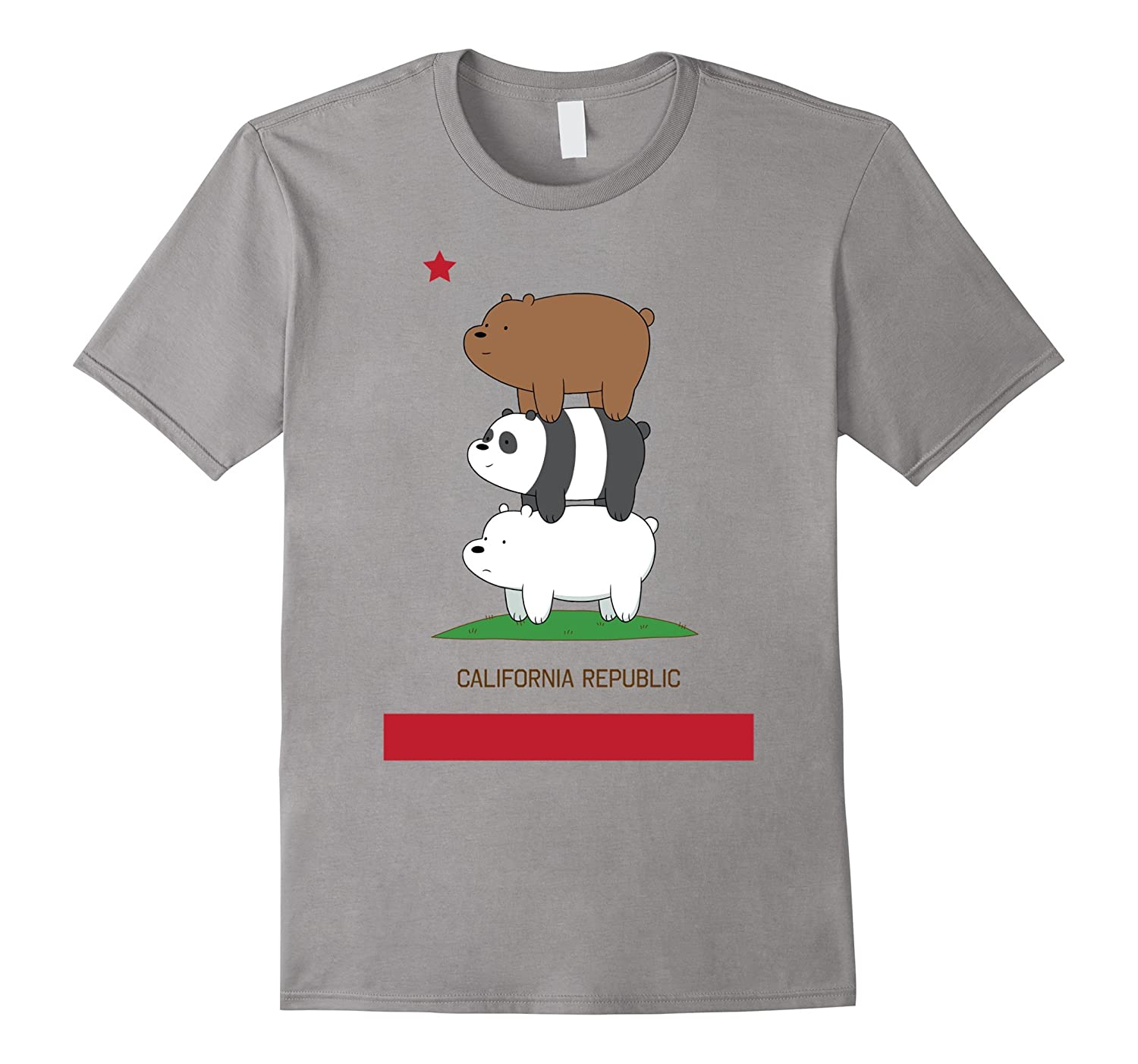 CN We Bare Bears California Flag Stack Graphic T-Shirt-RT