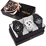 PIRASO Analogue Black Dial Men's and Boy's Watch -Combo Set of 3
