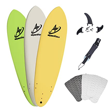 A ALPENFLOW 7 Soft Top Foam Surfboard 7ft Surfing Funboard Surf Boardwith 7 Surfboard Leash Surfing Fins and Traction Pad