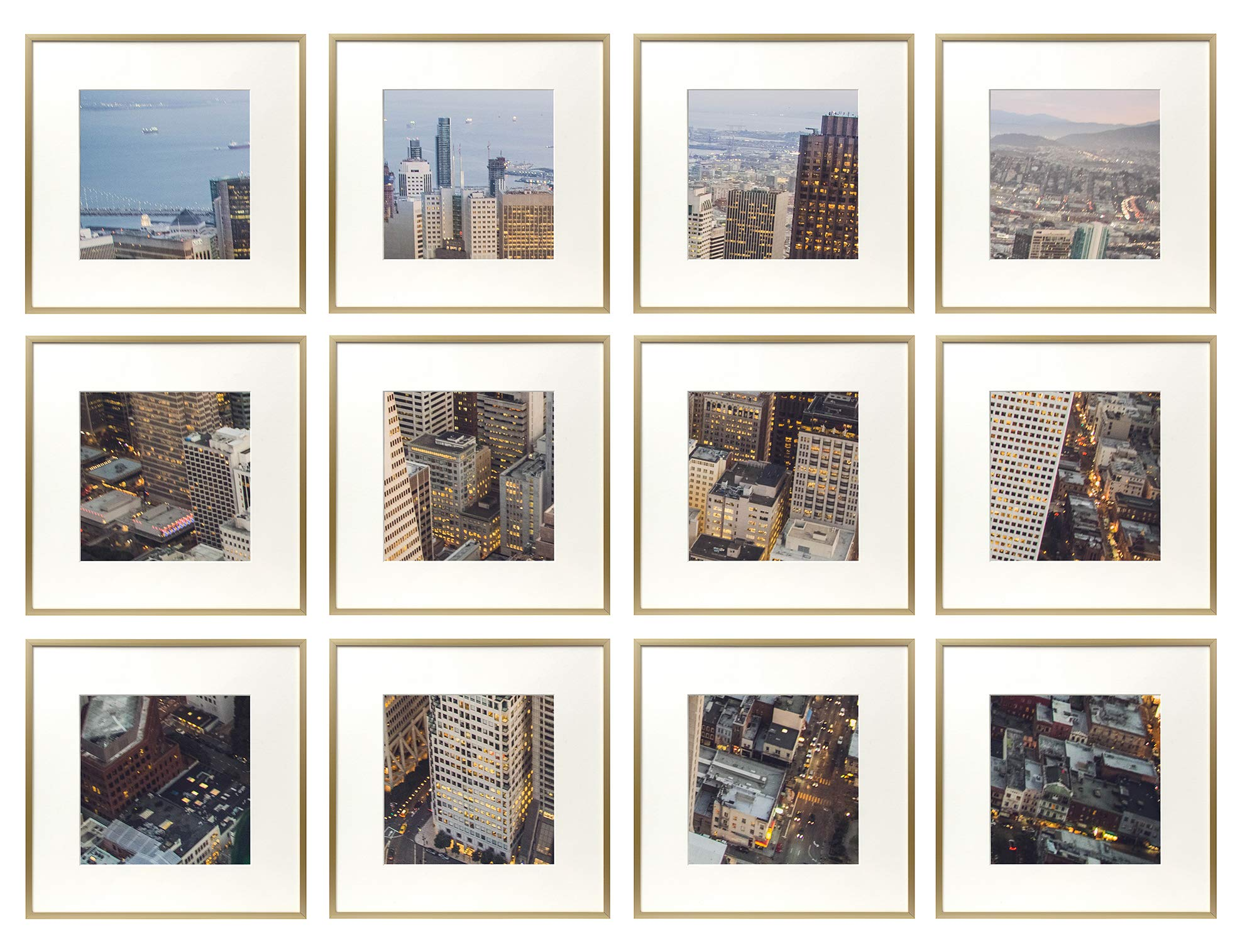 Frametory, Set of 12, 12x12 Gold Aluminum Frame - Includes Ivory Mat for 8x8 Picture - Gallery Wall Display - Sawtooth Hanger, Swivel Tabs - Collage Set for Weddings, Decorations, Art by Frametory (Image #1)