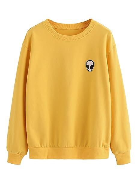 c5c5ff5dea1 SweatyRocks Womens Casual Long Sleeve Pullover Sweatshirt Alien Patch Shirt  Tops Mustard X-Small