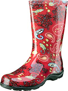 product image for Sloggers Women's Waterproof Rain and Garden Boot with Comfort Insole, Paisley Red, Size 6, Style 5004RD06