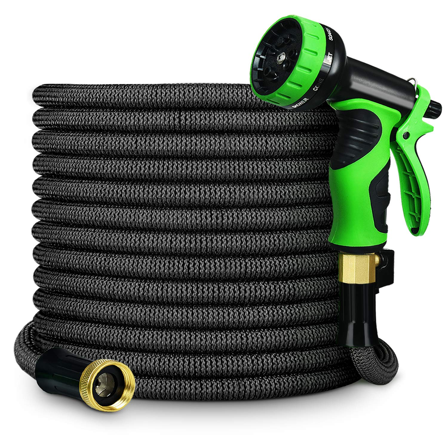GarenJoy Expandable Garden Hose, 75ft Water Hose with All Improved Leakproof 3/4 Solid Brass Connector, 3300D Stretch Fabric with 9 Function Spray Nozzle High Pressure Flexible Expanding Hose, Black