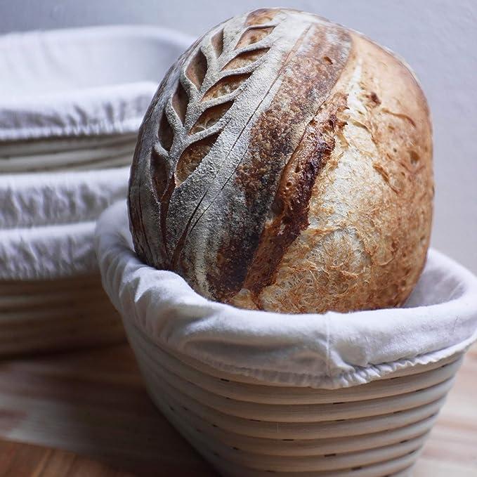 con fodera in panno e raschietto per impasto piccolo DMYX in rattan naturale rotondo per pane e impasto 20 cm Cestino per pasta madre