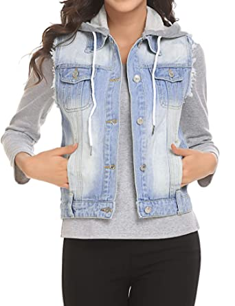 f58b5c783a3f65 UNibelle Women Buttoned Washed Denim Vest Sleeveless Jean Jacket with Flap  Pockets