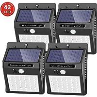[42 LED mejorados] SEZAC Luces solares Luces con sensor de movimiento solar para exteriores, Luces de seguridad inalámbricas a prueba de agua para el garaje del jardín Camino (paquete de 4)