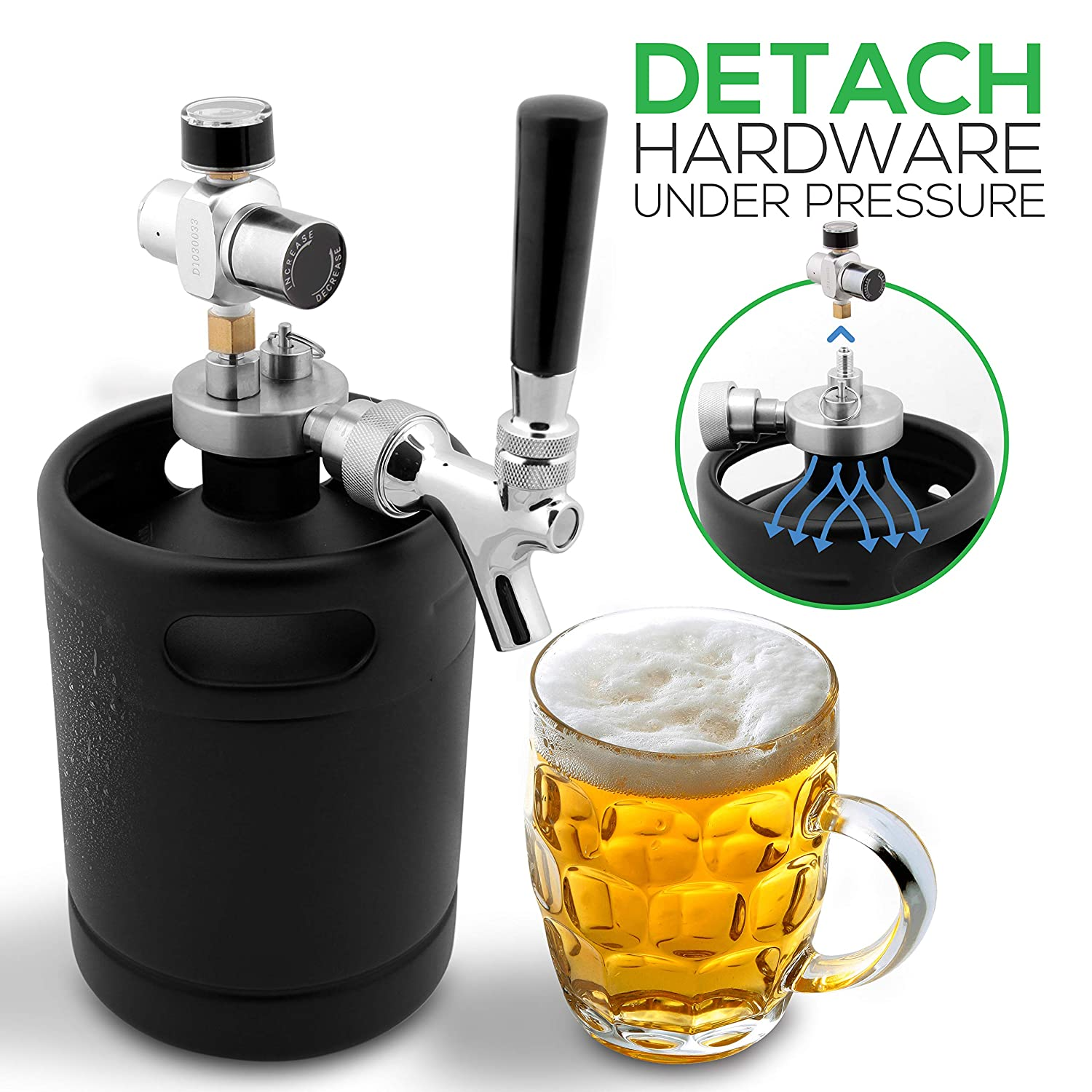 NutriChef Pressurized Mini Keg Beer Growler - Detachable Aluminum Regulator & Spout Easy Storage Under Pressure - Black Matte Powder Coated 64oz Pressurized Growler Homebrew Beer Dispenser - PKBRTP60