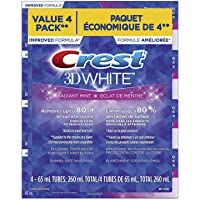 Crest 3D White, Whitening Toothpaste Radiant Mint, Pack Of 4, 65 Milliliters