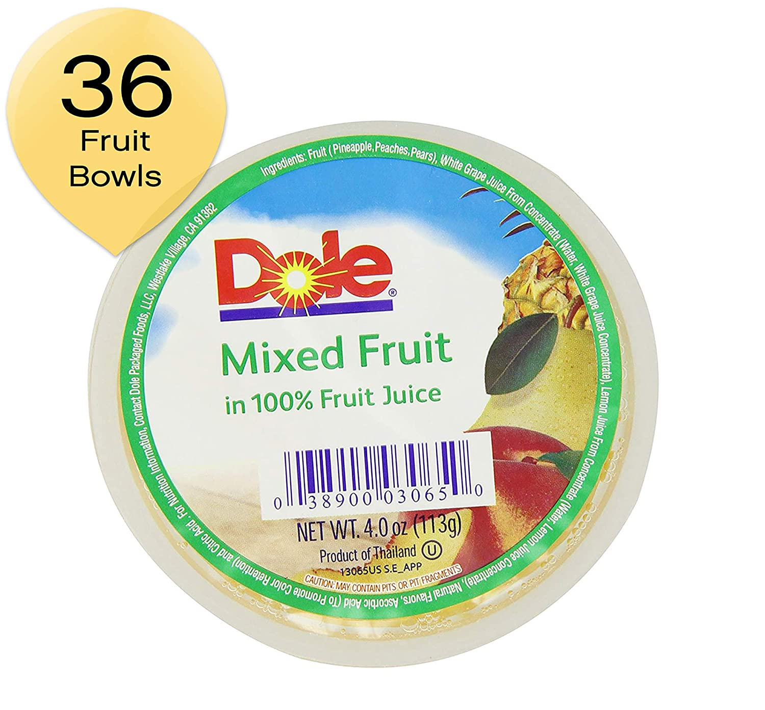 Dole Fruit Bowls, Mixed Fruit in 100% Fruit Juice, 4oz, 36 cups