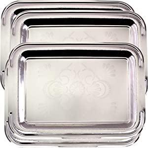 Maro Megastore (Pack of 4) 16.9 Inch x 13 Inch Oblong Chrome Plated Mirror Serving Tray Stylish Design Floral Engraved Edge Decorative Party Birthday Wedding Dessert Buffet Wine Platter Plate CC-859