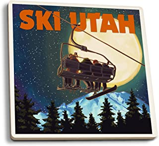 product image for Lantern Press Ski Utah - Ski Lift and Full Moon (Set of 4 Ceramic Coasters - Cork-Backed, Absorbent)