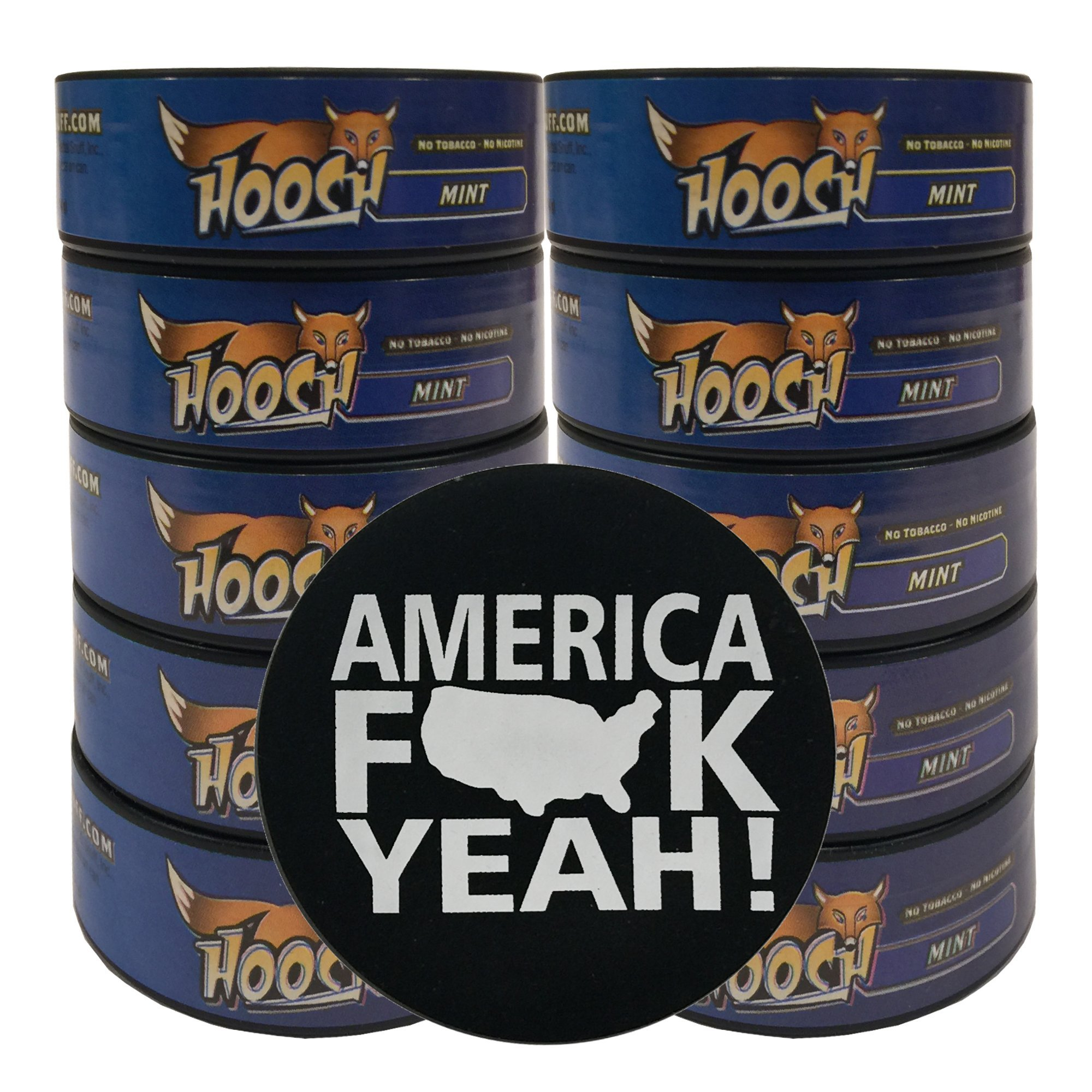 Hooch Herbal Snuff Or Chew - 10 Can - Includes DC Skin Can Cover (Mint Fine) (America Skin)