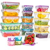Food Storage Containers with Lids, [20 Pack] Plastic Food Containers Set Leak Proof & BPA-Free Reusable Lunch Boxes Microwave