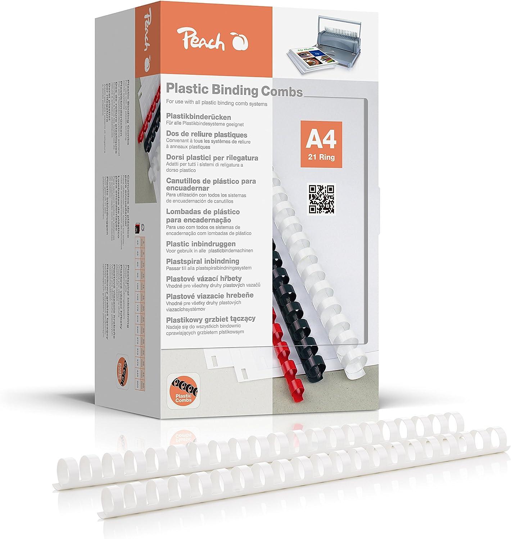 Pack de 100 5 /étoiles reliures peignes plastique 21 anneau 95 feuilles A4 12mm blanc