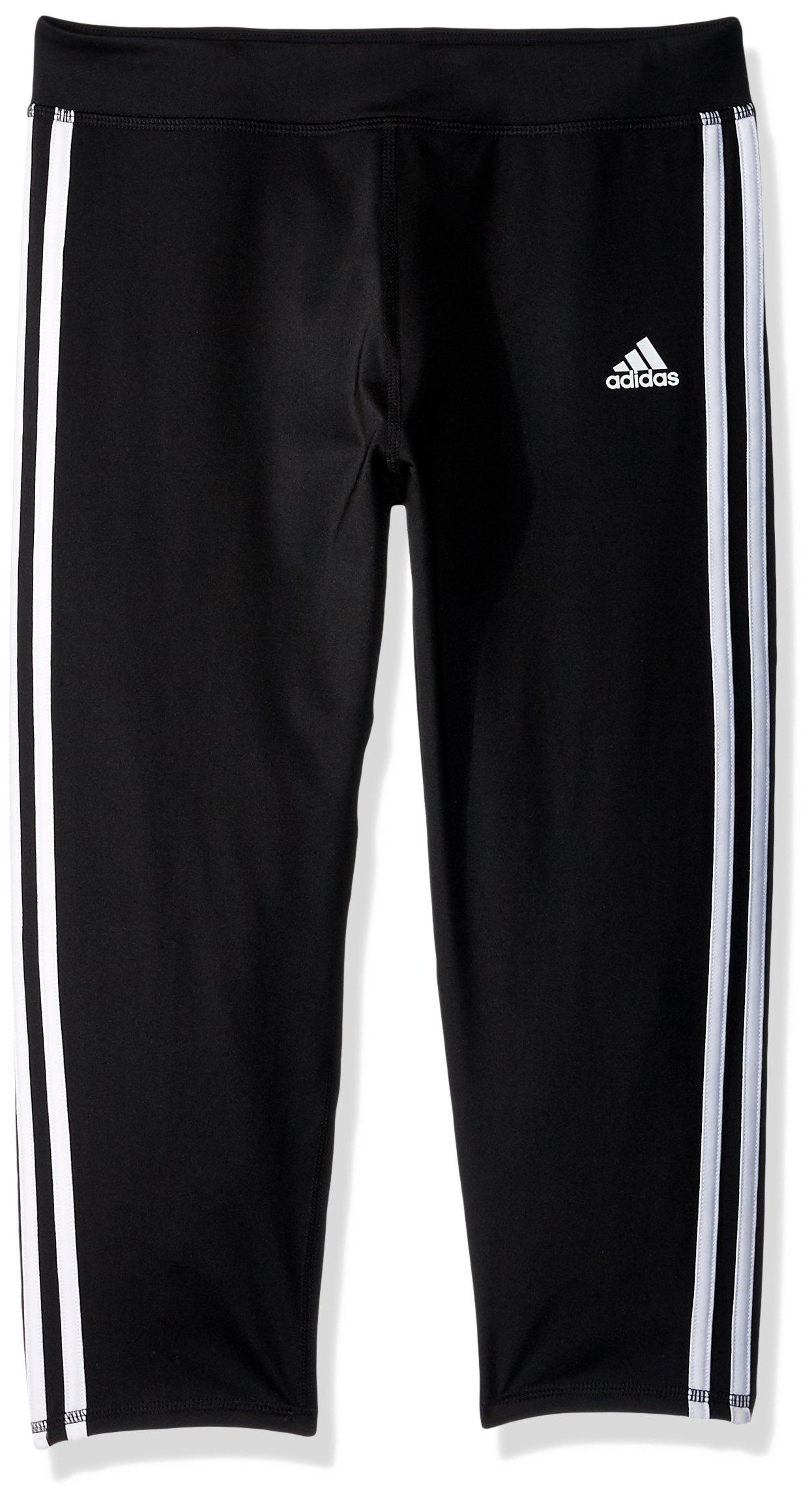 adidas Big Girls' Capri Legging, Black Adi, Large